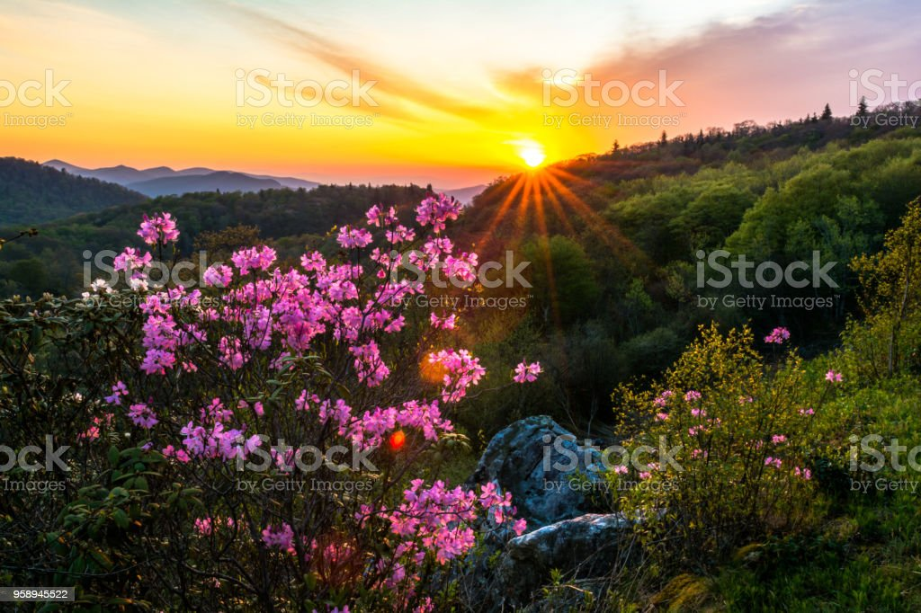 Sunrise in the Blue Ridge Mountains stock photo