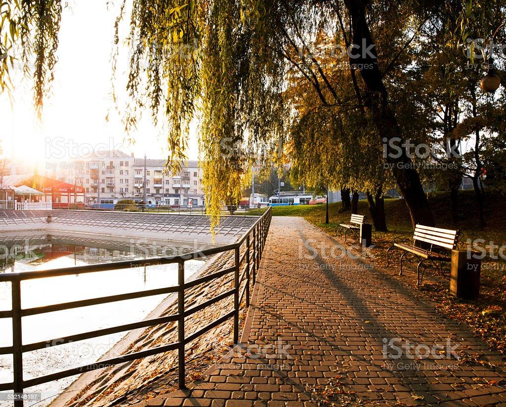 sunrise in the city park stock photo
