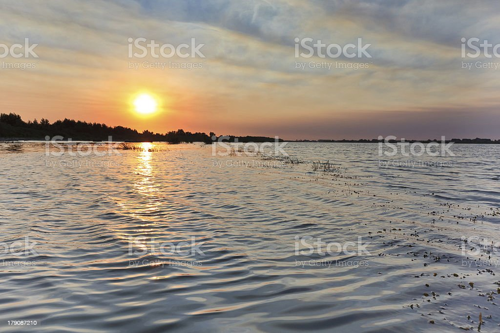 sunrise in the Danube Delta royalty-free stock photo