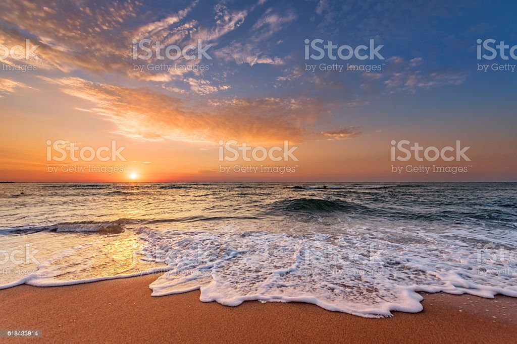 Sunrise in the morning, sunrise with clouds. stock photo