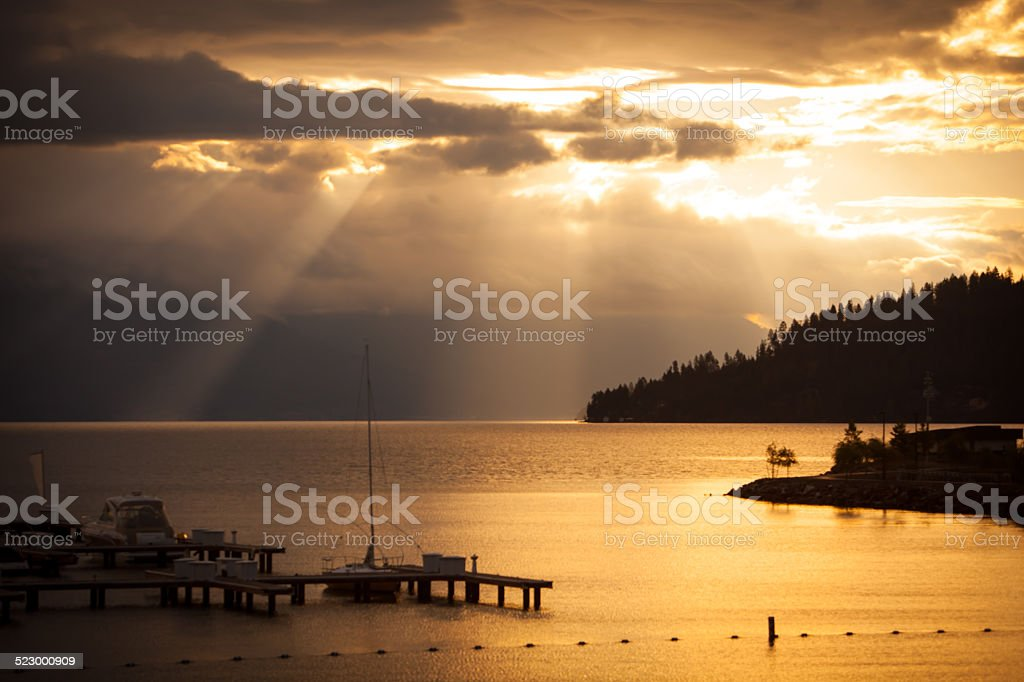 Sunrise in the mountains of northern Idaho. stock photo