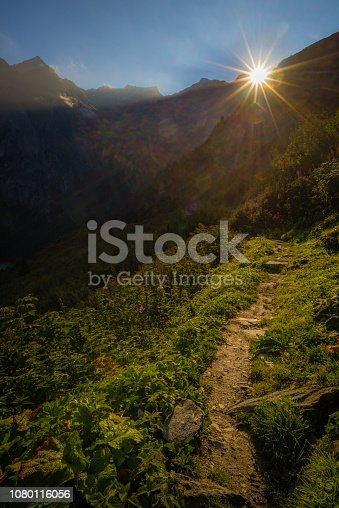 The sun rising above the ridge of a mountain casting its light on a hiking trail running through a lush, green valley.
