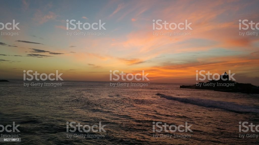 Sunrise in the ocean in Indian coast. stock photo