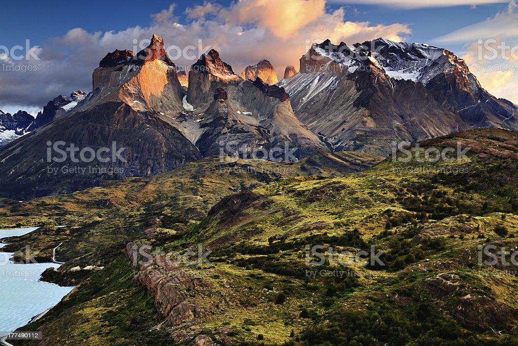 Sunrise in the Patagonian Andes Mountains stock photo