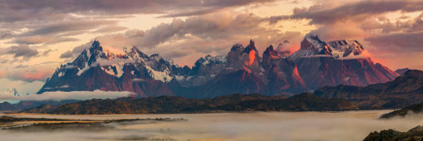 Sunrise in the Patagonian Andes Mountains - XXXL Panorma stock photo