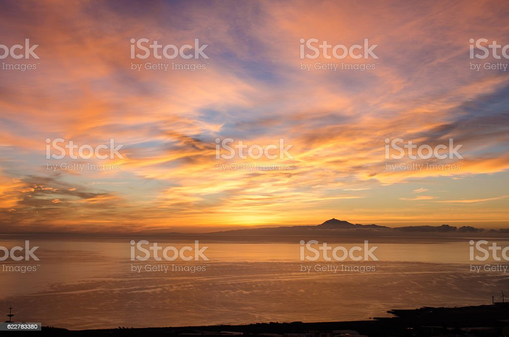 Sunrise in the sea for background. stock photo