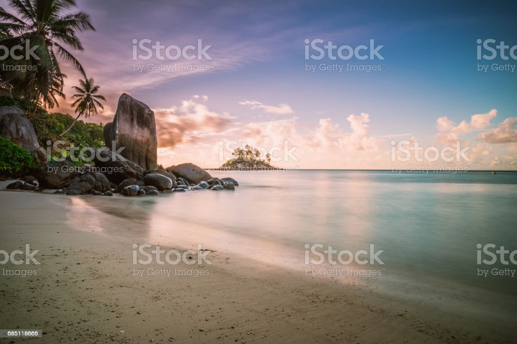 Sunrise in the Seychelles royalty-free stock photo