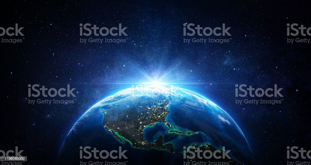 Sunrise In The Space - Blue Earth With City Lights - Usa elements of this image furnished by NASA - 3d Rendering - Royalty-free Abstrato Foto de stock