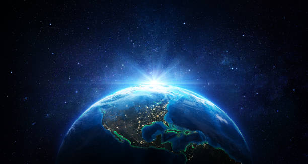 sunrise in the space - blue earth with city lights - usa elements of this image furnished by nasa - 3d rendering - globe zdjęcia i obrazy z banku zdjęć