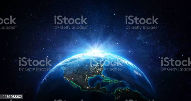 Sunrise In The Space Blue Earth With City Lights Usa Elements Of This Image Furnished By Nasa 3d Rendering - Fotografias de stock e mais imagens de Abstrato