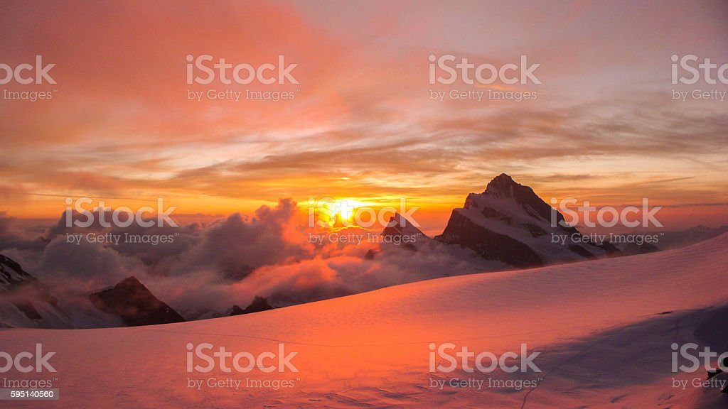 sunrise in the Swiss Alps stock photo