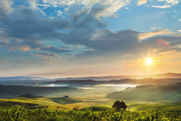 Sunrise in Tuscany, location: Crete Senesi stock photo