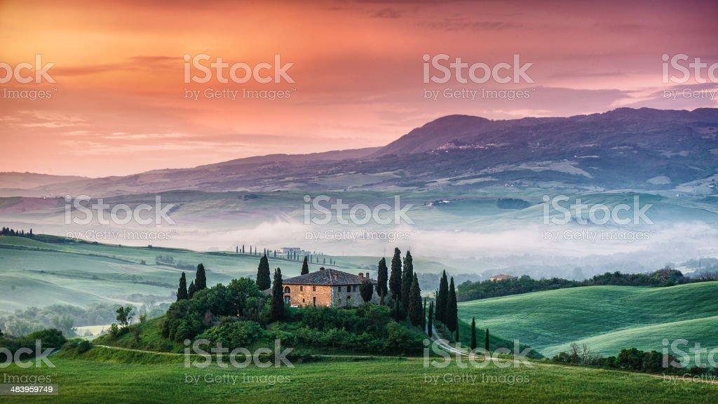 Sunrise in Tuscany stock photo