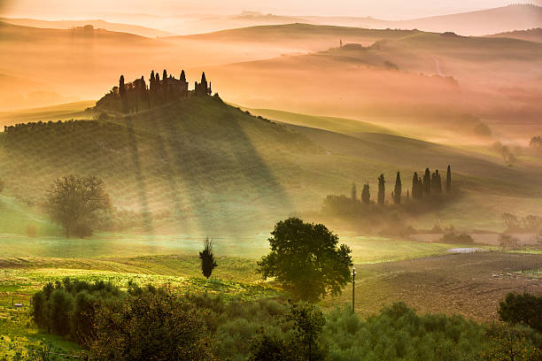 Sunrise in Tuscany Sunrise in Tuscany pienza stock pictures, royalty-free photos & images