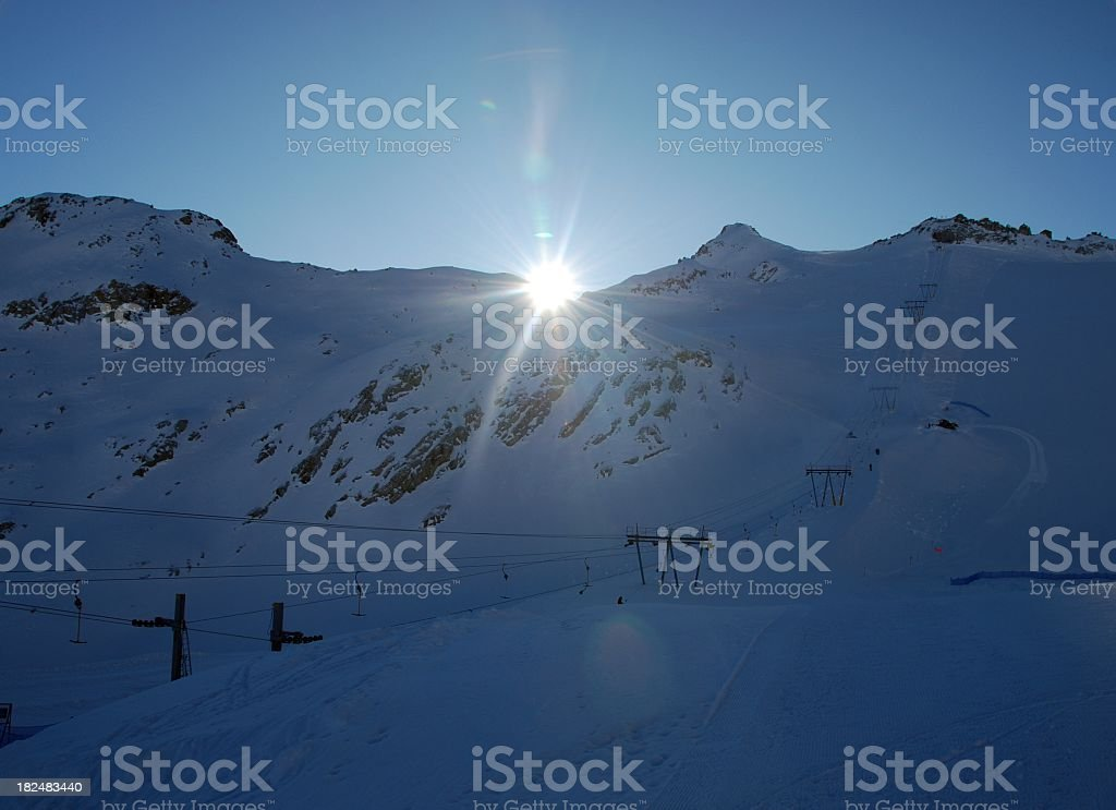 Sunrise in Val di Sole ski resort royalty-free stock photo