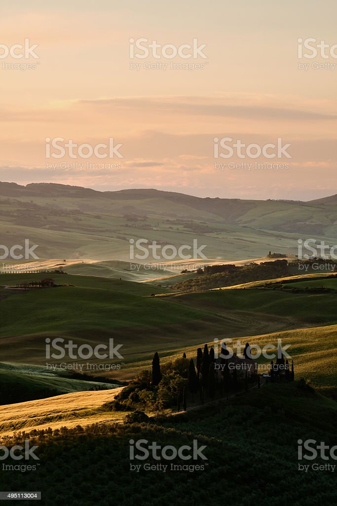 Sunrise in Val d'Orcia, Tuscany stock photo