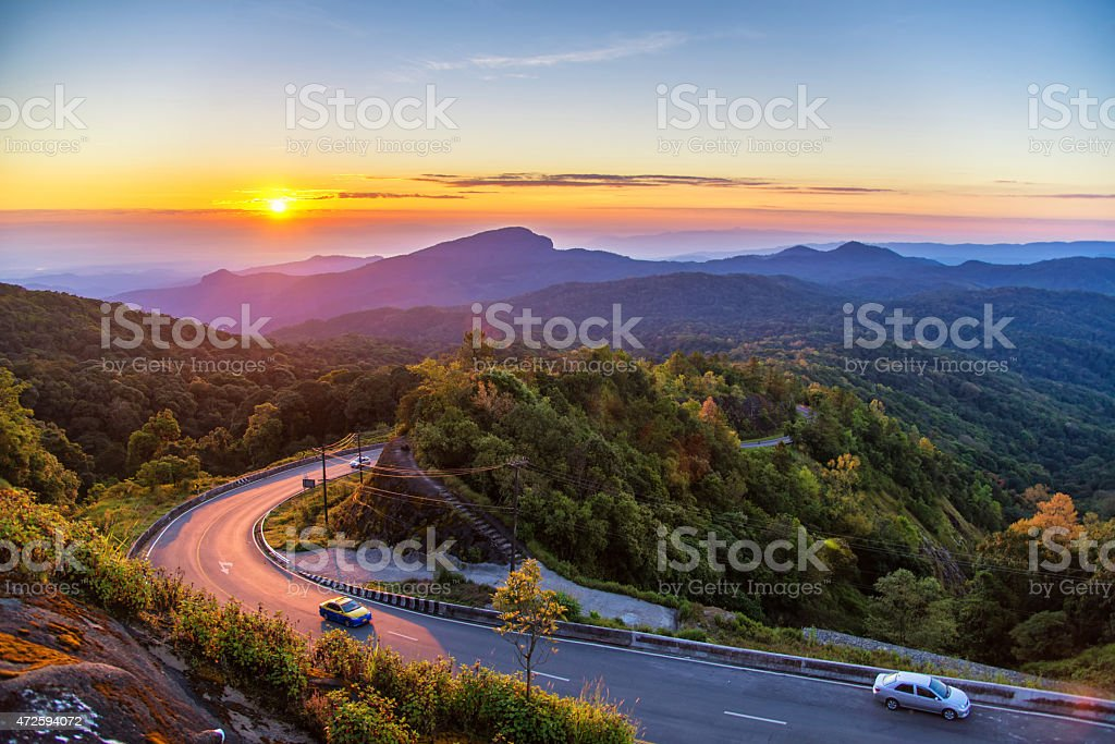 sunrise in view point of doi inthanon stock photo