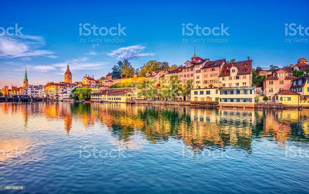 Sunrise in Zurich at the Limmat River Sunrise in the historic downtown of Zurich at the Limmat River . 2015 Stock Photo