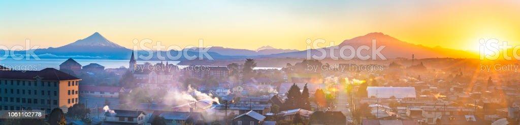 Sunrise on Puerto Varas stock photo
