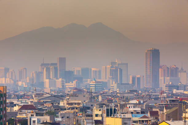 Sunrise Jakarta cityscape stock photo