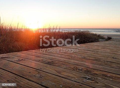 Sunrise and boardwalk in Kiawah Island, South Carolina