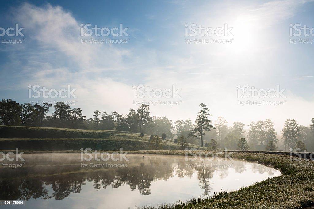 Sunrise Lake Reflection stock photo