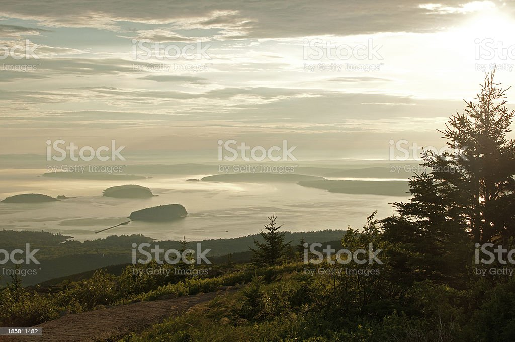 Sunrise landscape of lake and fur tree forest royalty-free stock photo