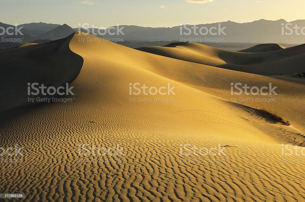 Sunrise paisaje de dunas planas de Mesquite, valle de la muerte foto de stock libre de derechos