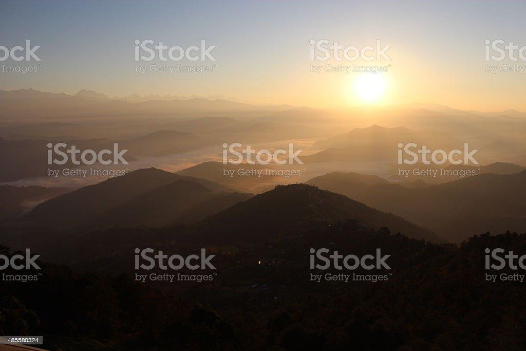 Sunrise landscape on the high mountain Everest of Nepal. stock photo
