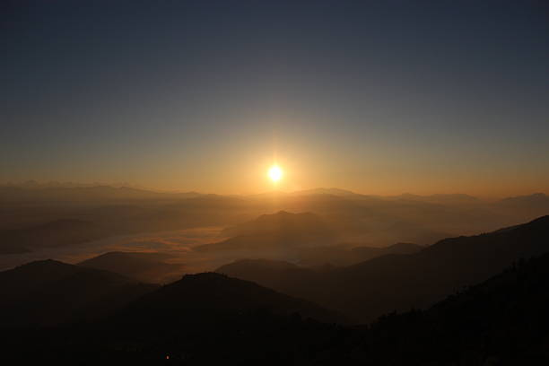 Sunrise landscape on the high mountain Everest of Nepal. stock photo