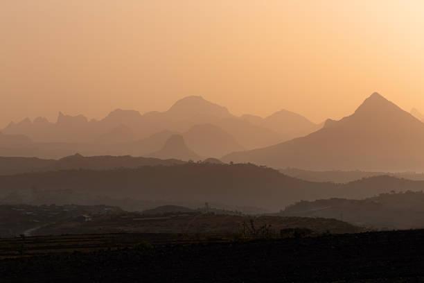 Sunrise landscape Simien mountain Ethiopia stock photo