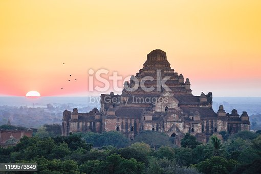 Sunrise landscape view of beautiful old temples in Bagan Myanma tavel asia theme nature backgound