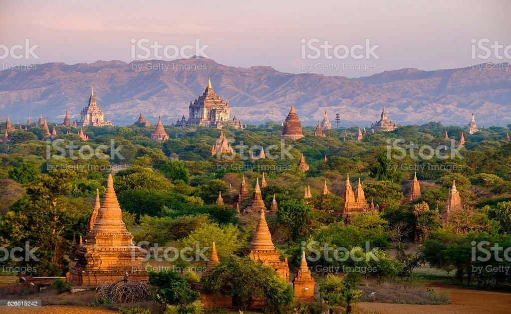 Sunrise landscape view with silhouettes of old temples, Bagan stock photo
