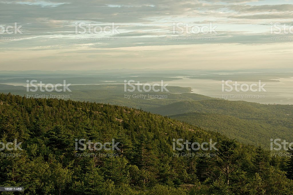 Sunrise light with forest and clouds royalty-free stock photo