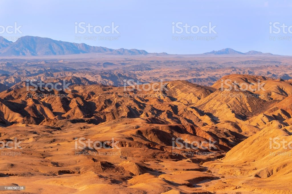 Sunrise Lights The Yellow Moon Valley Desert Landscape In Africa Namibia Stock Photo Download Image Now Istock