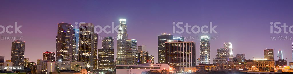 Sunrise Los Angeles California Downtown City Skyline stock photo
