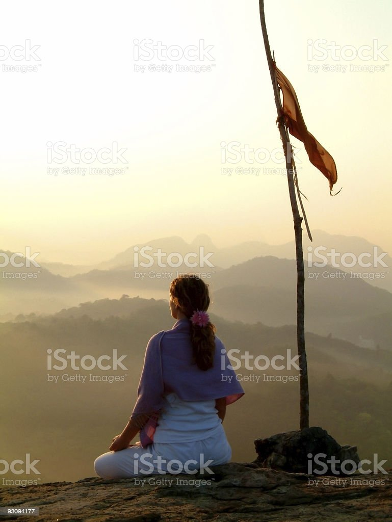 sunrise meditation & flag royalty-free stock photo