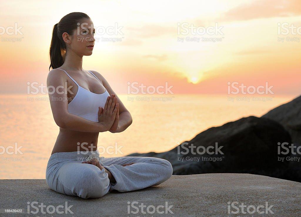Sunrise Meditation, Yoga royalty-free stock photo