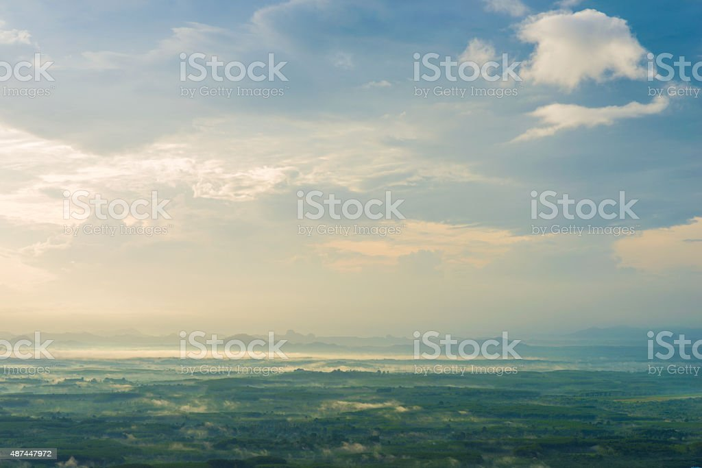 Sunrise mountain view landscape with fog. stock photo