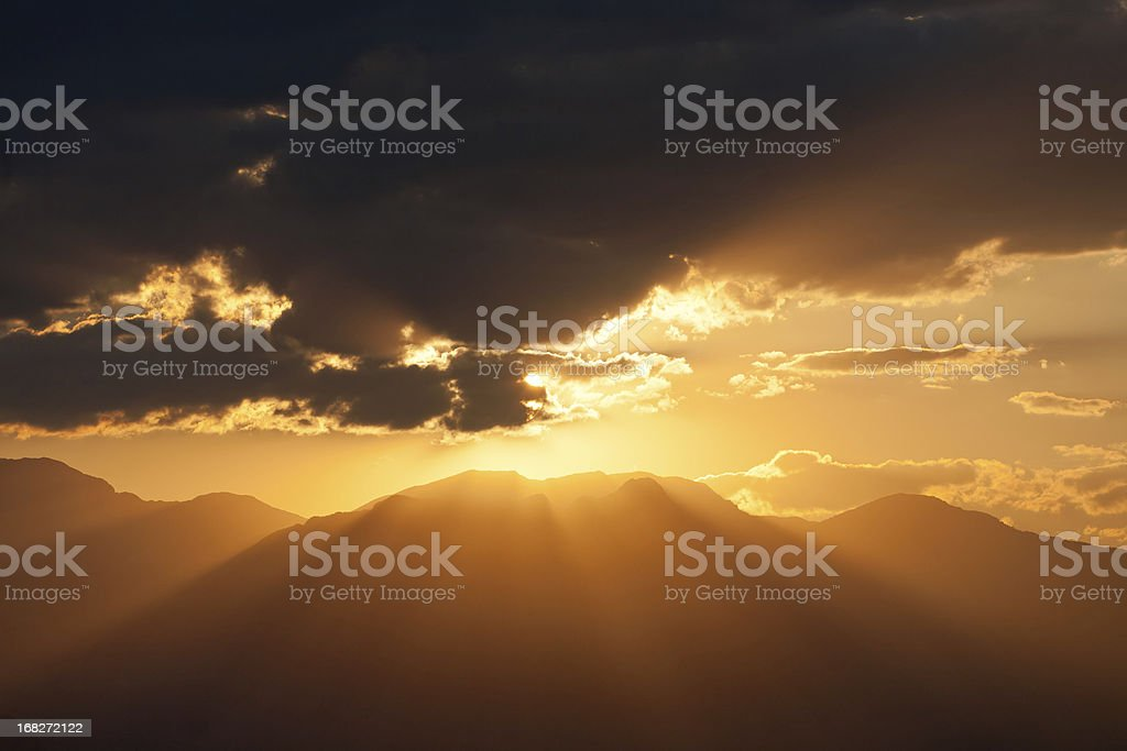 Sunrise, mountains and clouds royalty-free stock photo