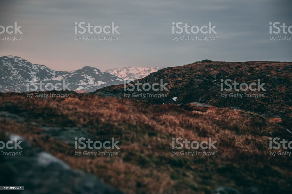 Sunrise, moutains stock photo