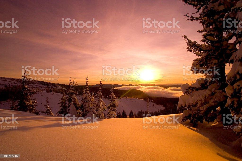 sunrise mt.hood, snow royalty-free stock photo
