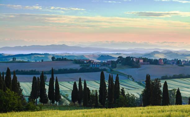 Sunrise near a small village in Tuscany stock photo