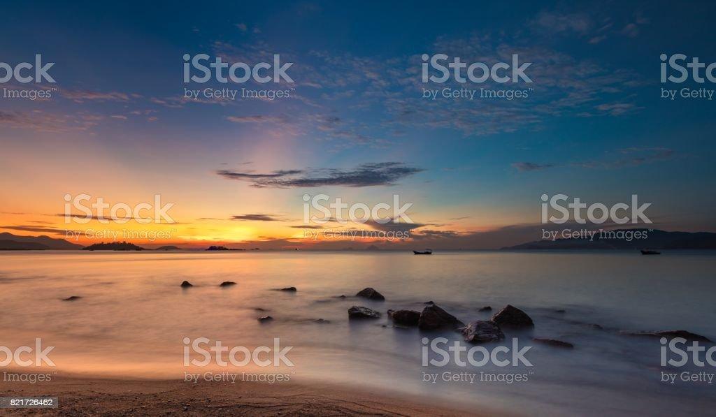 Sunrise Ocean Sky Nha Trang Vietnam stock photo