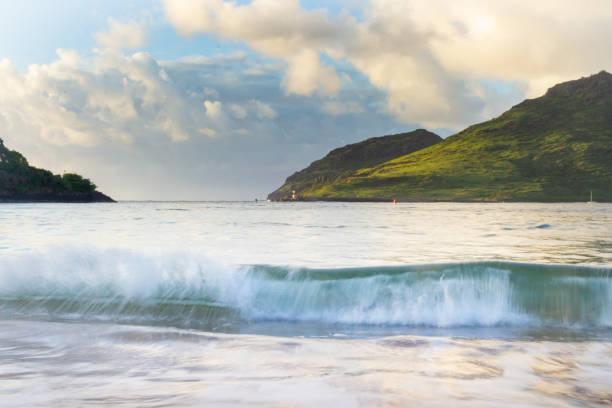 Sunrise Ocean Waves in Hawaii stock photo