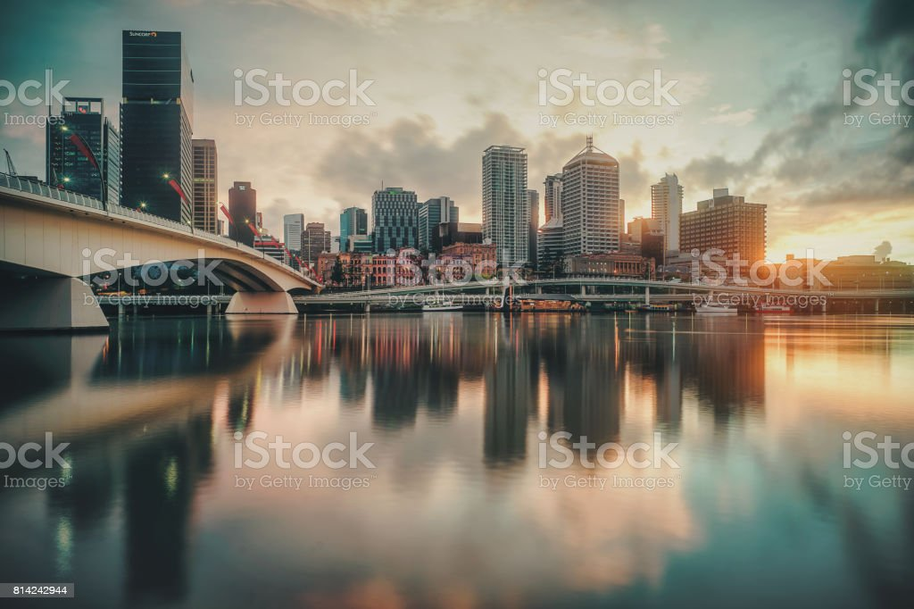 Sunrise of Brisbane City & Brisbane River with water reflection stock photo