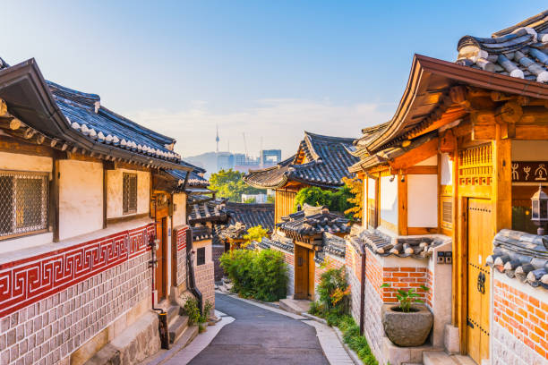 Sunrise of Bukchon Hanok Village in Seoul, South Korea. stock photo
