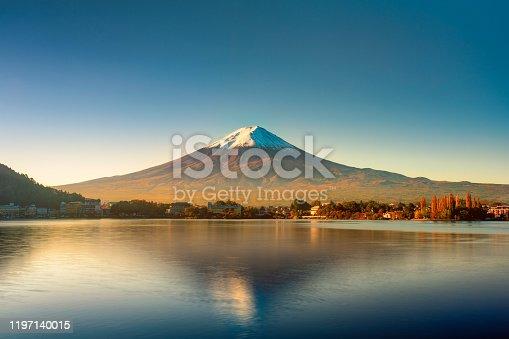 istock Sunrise of Fuji mountain reflection on water 1197140015