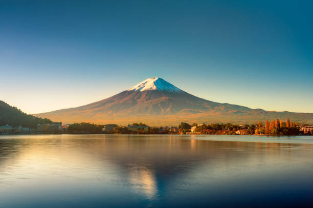 Sunrise of Fuji mountain reflection on water Autumn leaves at kawaguchiko lake, Japan lake kawaguchi stock pictures, royalty-free photos & images