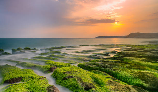 Sonnenaufgang von grünen Riff, Lao Mei, Taiwan, New Taipei – Foto